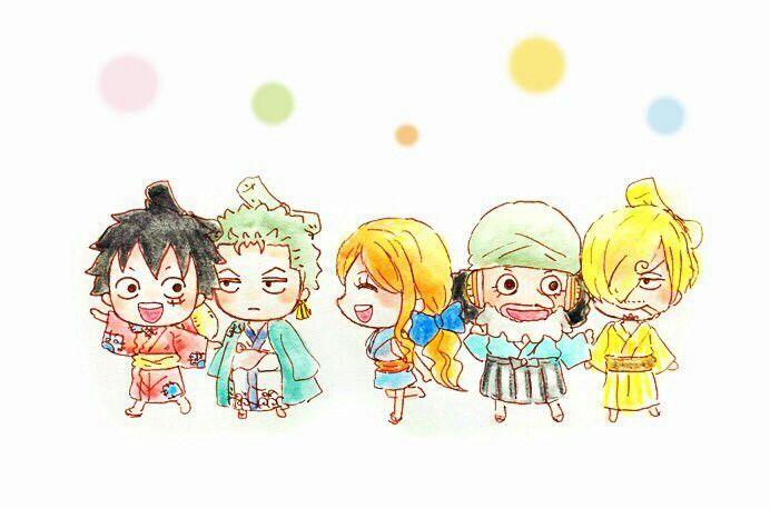 Straw Hat Pirates Wano Kuni One Piece Luffy Kawaii Anime Chibi