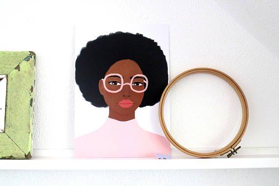 A4 Poster Roze Bril  Print van Schilderij Portret Vrouw
