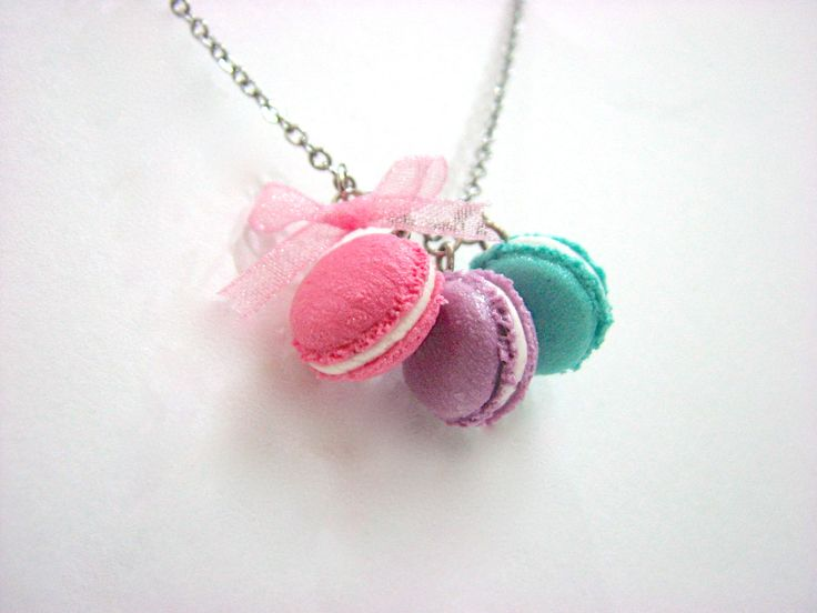 Miniature macaron trio necklace with organza ribbon By xunnux