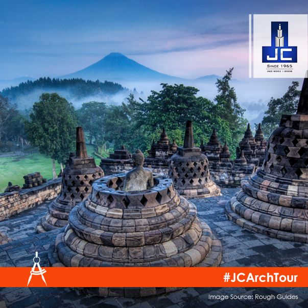 Borobudur is the world's largest #Buddhist temple in Java, Indonesia. It consists of six square platforms topped by three circular platforms and is decorated with 72 bell-shaped stupas and a statue of Buddha rests in each stupa.  #JCArchTour