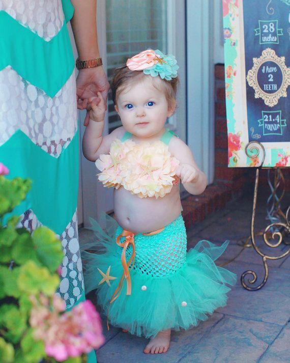 Mermaid Tutu, Little Mermaid, Mermaid Costume, Ocean Theme, Beach Theme, Beach Birthday, Photography Prop, Baby Bikini, OOC
