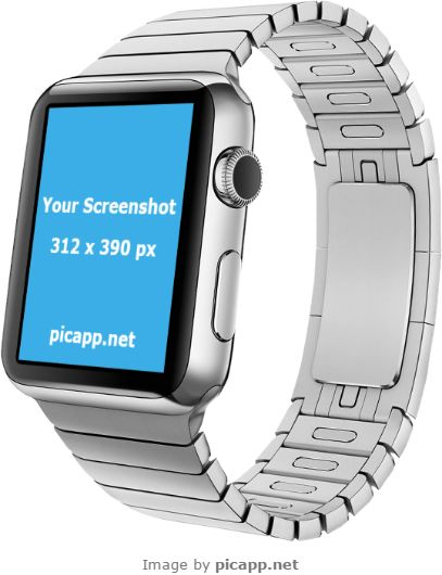 Use this cool Apple Watch to showcase better your new iOS app! With Picapp.net you can put easy and fast your app screenshot in this Apple Watch. All you have to do is to go to Picapp.net, choose what frame device you like, upload your app screenshot and you're done! Easy, right?   #apple #nobackground #mockup #AppleWatch #smartwatch #picapp