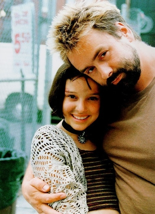 Natalie Portman and Luc Besson while filming Léon: The Professional