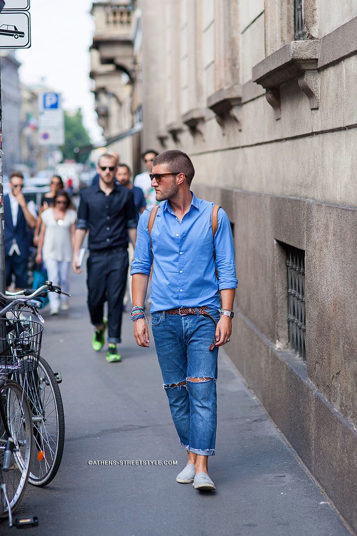 9983 Athens Streetstyle Man Ripped Jeans Blue Shirt Milan Mens Fashion Week Spring Summer 2015