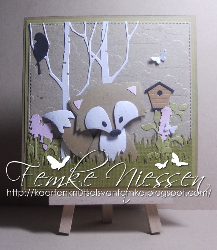 made by femke niessen: adorable foxes card 2. I really fell in love with this die. used several brands of dies.