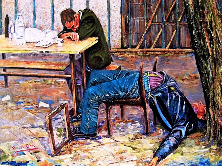 By Doctor Rida Yaghi-Oil-بريشة الطبيب رضا منذر ياغي-The drunks