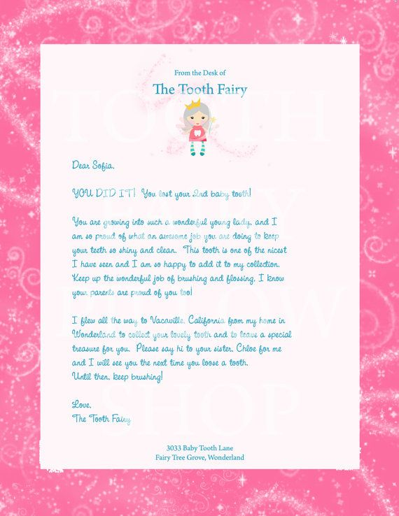 Personalized tooth fairy letter for girls projects for for Fairy letter ideas