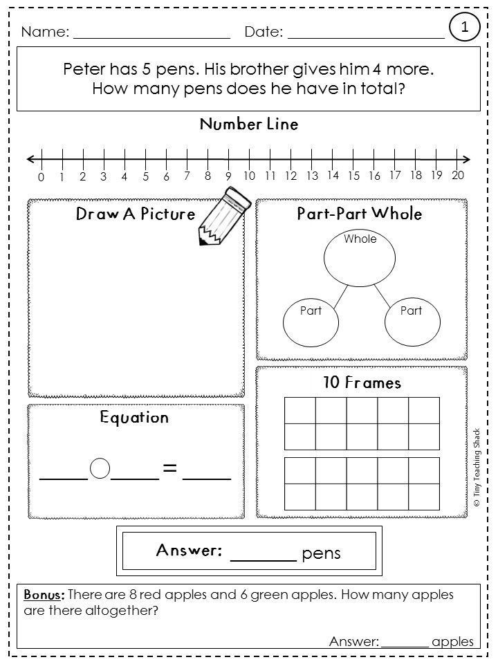 Word Problem Practice Sheets 2 Whole Numbers Oa A 1 First Grade Math Word Problem Practice Math Word Problems