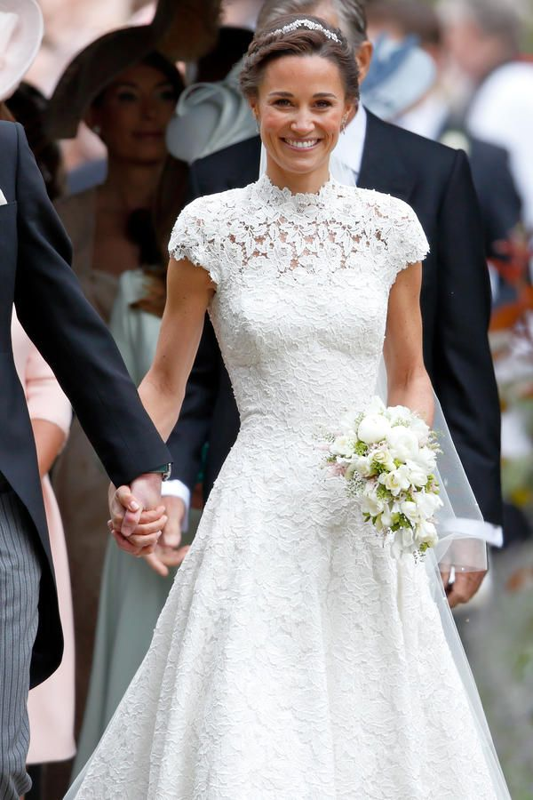 Pippa Middleton - The Most Iconic Wedding Dresses of All Time - Southernliving. Wed in James Matthews in April 2017 Pippa's bridesmaid dress for Kate's wedding made waves, so there were high expectations when it came to what she would wear for her own big day. The gown was a custom creation by British designer Giles Deacon. It featured cap sleeves, a high neck, and a heart-shaped cutout on the back.