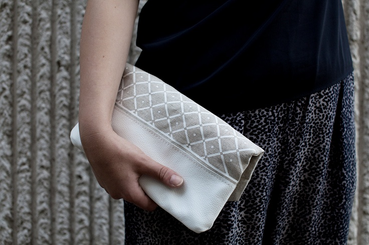 Triangle Printed Leather Pouch white  No ZP601 by CORIUMI on Etsy, $52.00