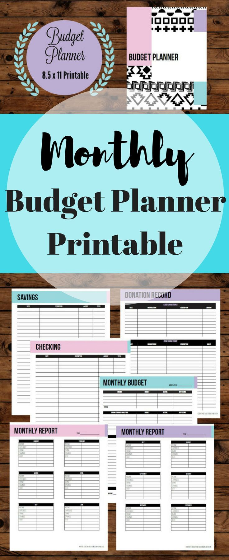 Budgets don't need to be boring! Check out this cute and colorful printable budget planner! 2017 Financial planner for a finance binder and monthly budget planner printable, finance planner, budget printable, 8.5 x 11in #afflink #budget #printable #daveramsey #cute