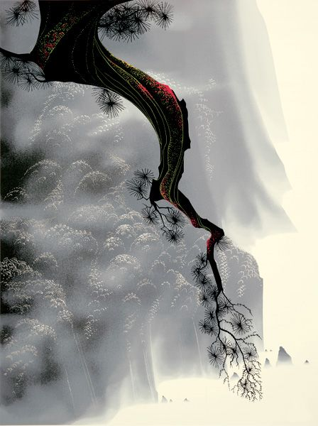 Serigraph by Eyvind Earle  Throught the Fog http://www.eyvindearle.com/ImageViewer.aspx?id=97