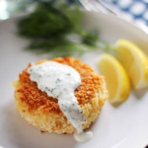 Smoked Salmon Potato Cakes with Herb Crème Fraîche Recipe | Yummly