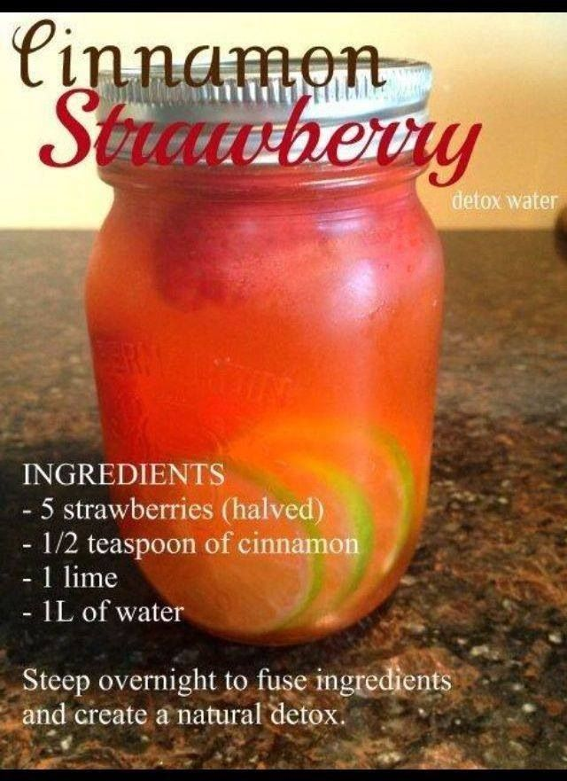 Cinnamon strawberry water. Steep overnight for detoxing benefits. Visit my site http://youtu.be/vXCPDEkO9g4