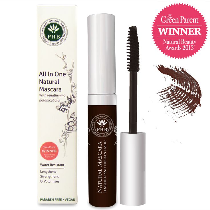Colour:  Brown 	Description: A dark brown. Lengthens, thickens and volumises. Water resistant. Great for sensitive eyes  	PHB's Award Winning All-In-One Natural Mascara is the perfect all-encompassing mascara. It lengthens, thickens and volumises lashes with a gentle water-resis