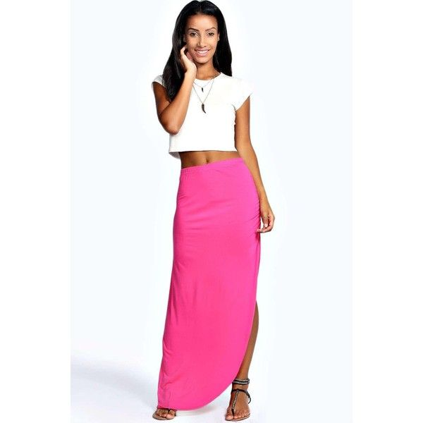 Boohoo Basics Michelle Viscose Maxi Skirt ($14) ❤ liked on Polyvore featuring skirts, pink, floral midi skirt, midi skater skirt, long maxi skirts, midi skirt and high low maxi skirt