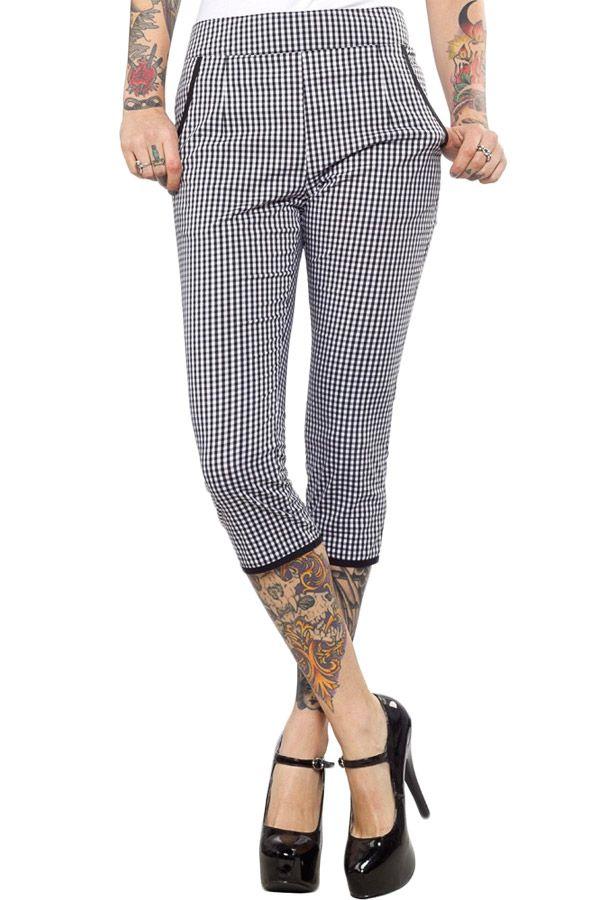 Voodoo Vixen Women's Anfelina - Flocked Houndstooth Trousers