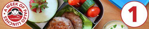paleo lunch : sausage patties, apple sunwich, veggie skewers with paleo ranch
