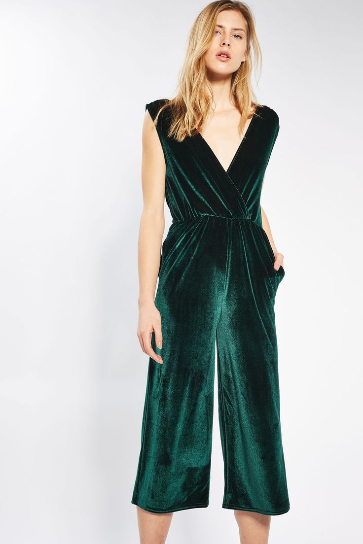 **Plunge Velvet Jumpsuit by Oh my Love | Topshop