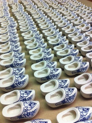 Delft -style painted Klompen (wooden shoes)