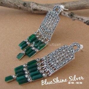 Серебро 925 чистого серебро тайский серебро марк гонка естественная белый раковина зеленый агат женское серьгу