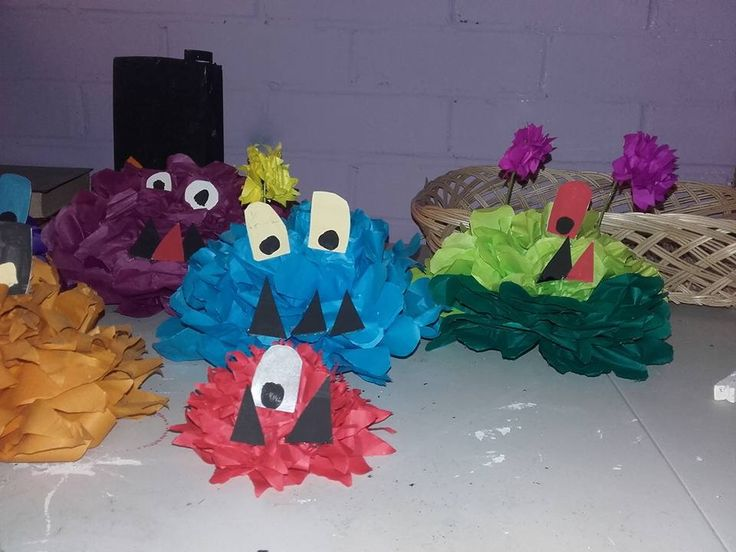 Tissue paper Halloween monsters made for a children's party