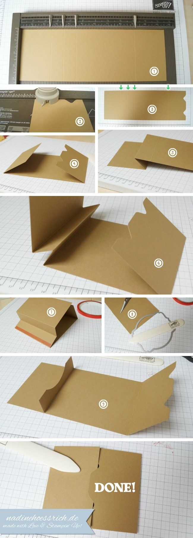 Tutorial: Gift-Card-Holder - www.nadinehoessrich.de... she has the instructions translated on her blog (blue font is English)