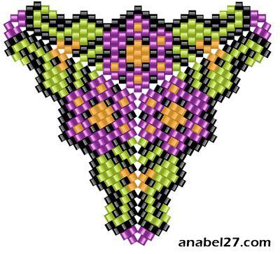 схемы бисероплетения треугольников мозаичных фигурных peyote