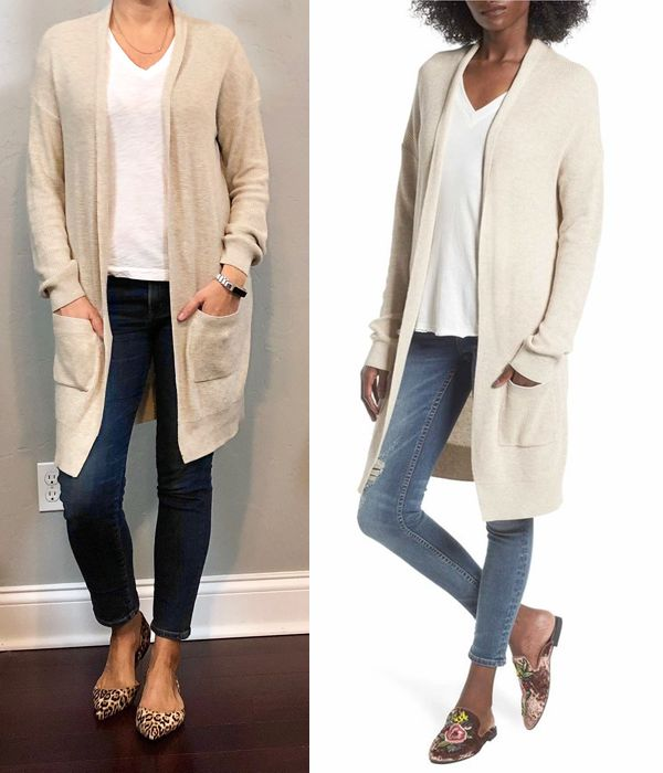 outfit post: beige cardigan, white v-neck t-shirt, girlfriend jeans, leopard pointy toe flats