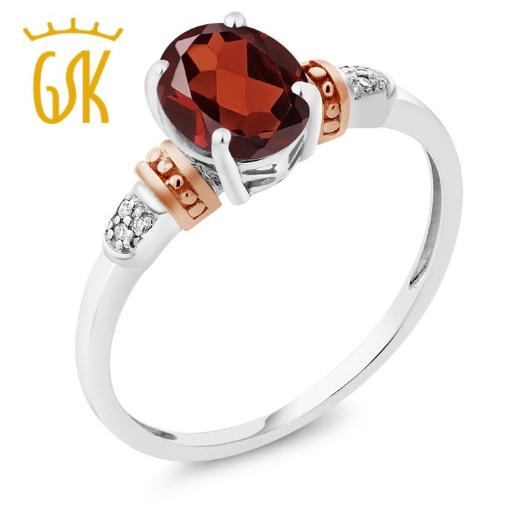 925 Sterling Silver and 10K Rose Gold Ring Naturtal Red Garnet with Diamond Accent Ring //Price: $82.29 & FREE Shipping //     #hashtag2