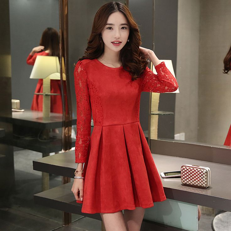 2015 New Winter Women dress Slim Upset Lace Deer Velvet Pleated Dresses Pink Red 625 - OK Fashion