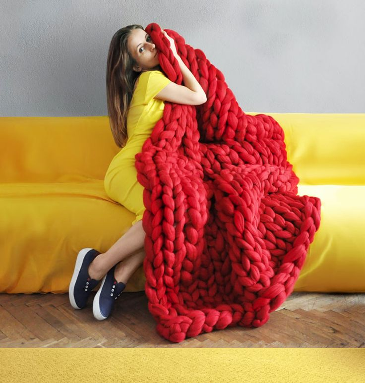 xxl stricken riesen decke grobstrick rot farbe #diy #pillows #blanket