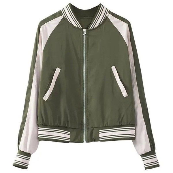 Army Green Embroidered Bomber Jacket ($50) ❤ liked on Polyvore featuring outerwear, jackets, green camo jacket, style bomber jacket, olive green jackets, bomber jackets and flight jacket