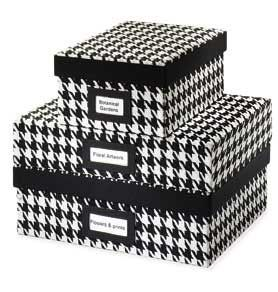 houndstooth storage boxes - StyleBakery.com | Daily Scoop  http://stylebakery.com/daily/houndstooth_storage_boxes.html#