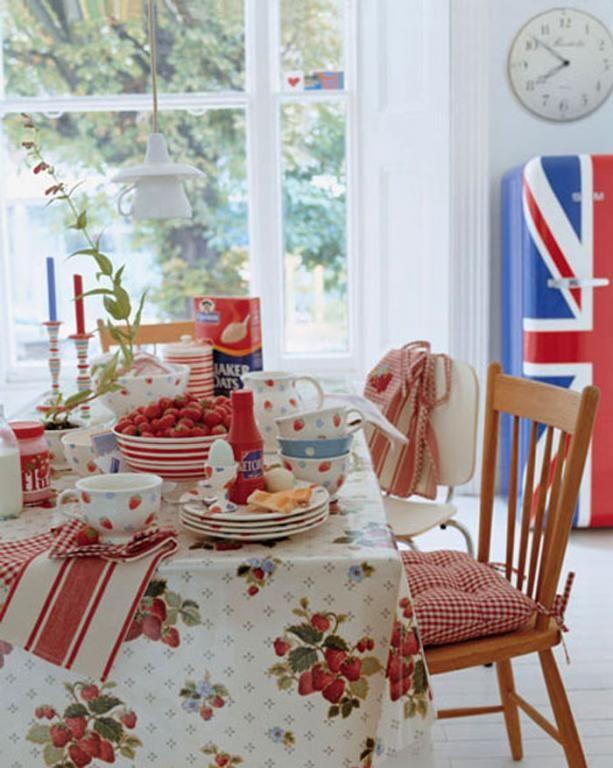 british flag fridge laura ashley kitchen table setting strawberries bright
