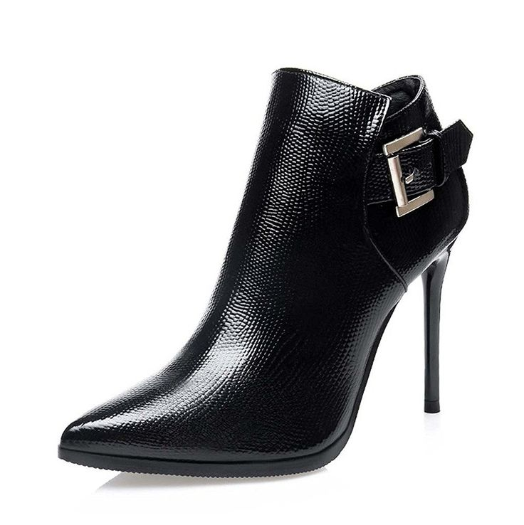 YOUZAHN Womens Pointed-Toe Stiletto Heel Metallic Buckle Ankle Boots Popular fashion *** Awesome product. Click the image : Jordan sneakers and shoes