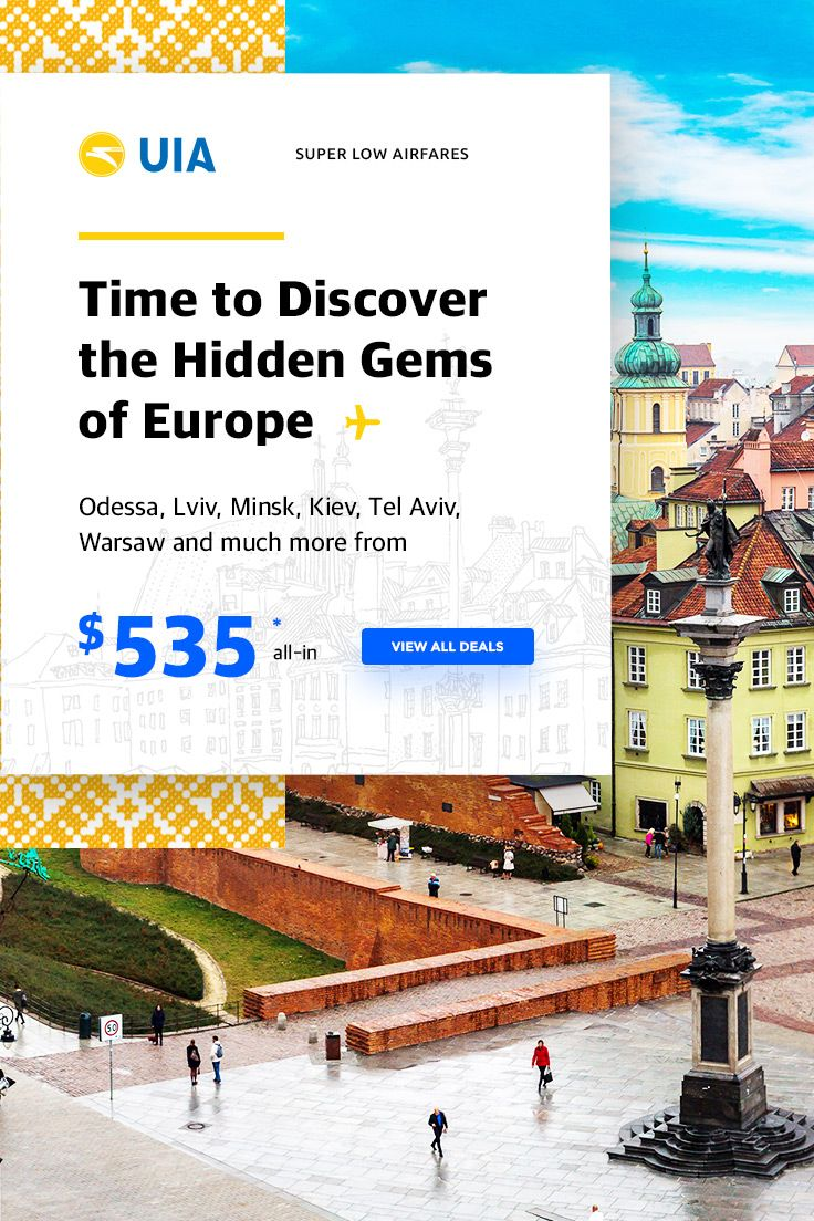 OFF-THE-BEATEN-PATH DEALS TO EUROPE ✈ Discover the unknown and travel to Europe's hidden gems at super low fares! Depart from New York with Fly UIA and visit: Ukraine Poland Turkey Belarus & more! Travel this year or in early 2018! Limited-time offer so don't wait long. Call us now to 844-895-2138 (24/7 & toll-free) & learn more!