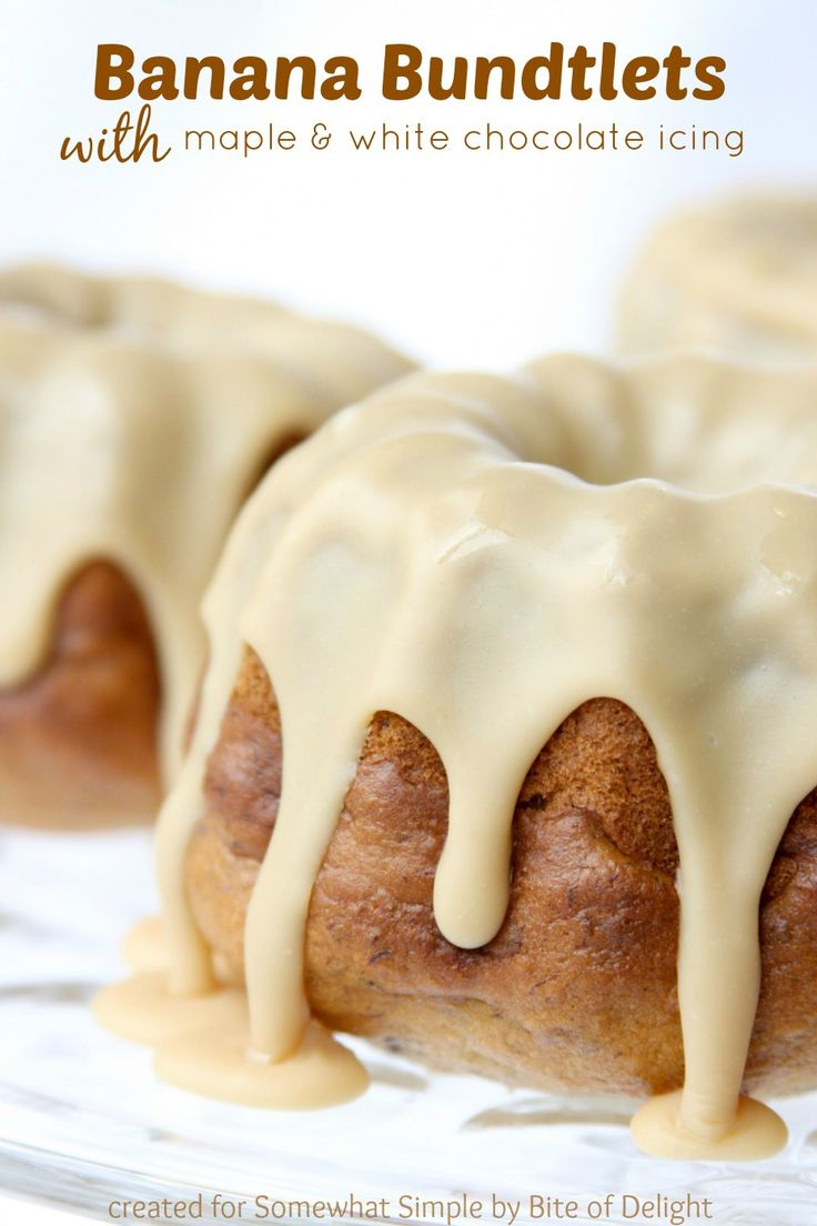 Banana Bundlets with maple + white chocolate icing recipe. What?! Yes please! #dessertideas