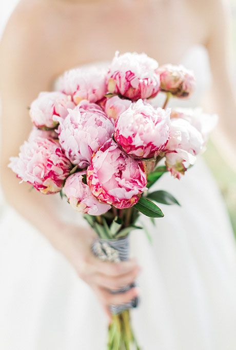 A Hand-Gathered Bouquet of Bright Pink Peonies Pink Wedding Bouquets