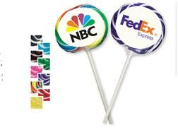 Whirly Pops |  Mesmerize everyone with our Whirly Pops! Available in flavorful Two-Tone to match any corporate, school or promotional program color theme... or go wild with Rainbow pops! Each pop is individually wrapped and decorated with a full-color digital label, to brightly showcase your logo or message.