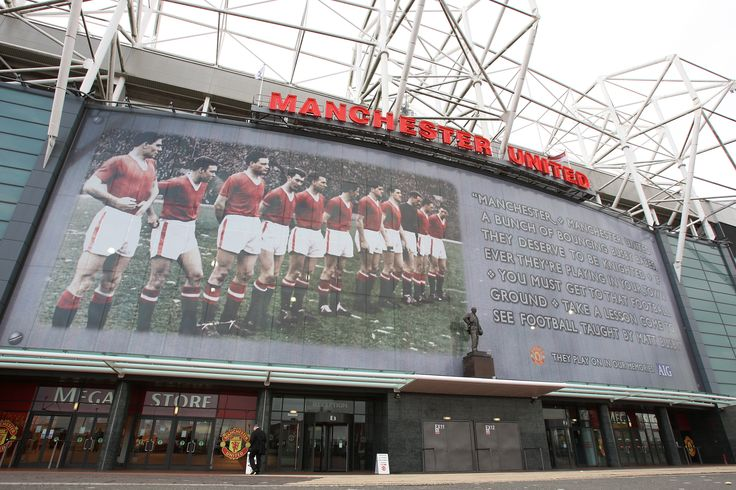 @manutd paid tribute to the Busby Babes on the 50th anniversary of the Munich Air Disaster by erecting this window graphic on Old Trafford's East Stand.