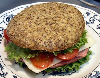 FLAX SANDWICH BUNS - Linda's Low Carb Menus & Recipes.  these are actually good.  try the recipe as is or eliminate the spices and onions.
