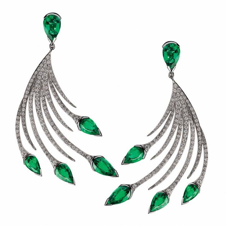 Emerald and diamond earrings by Shaun Leane