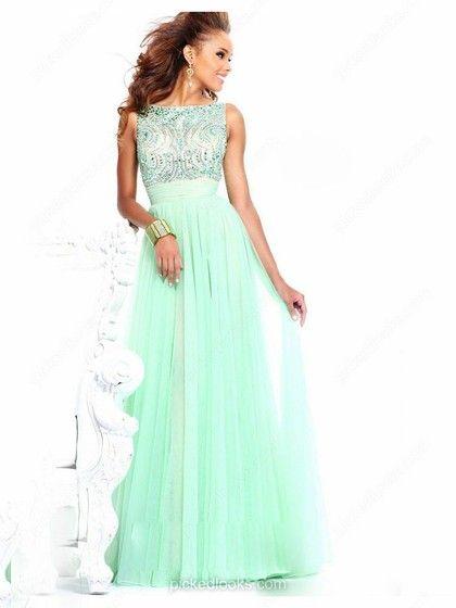 Tulle Bateau Floor-length A-line Beading Prom Dresses -NZD$198.19
