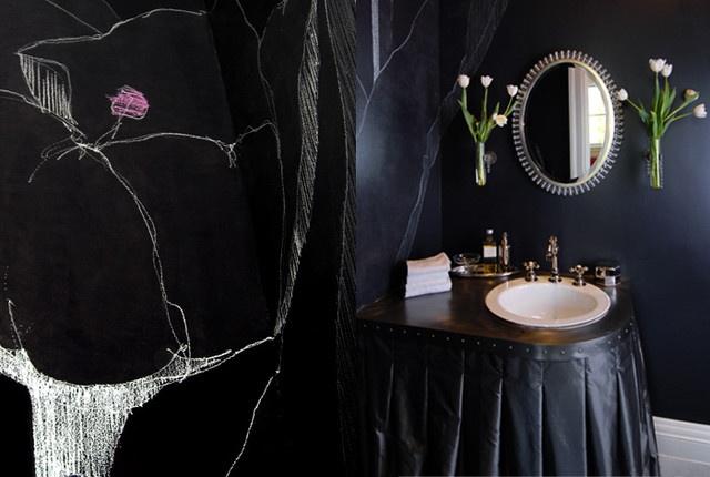eclectic powder room by Faiella Design