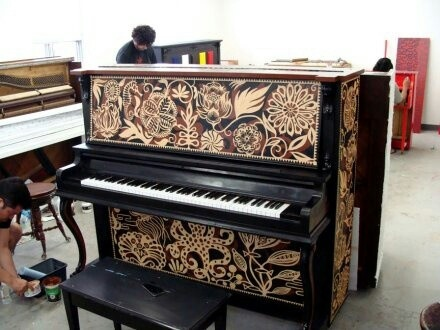Who says a painted piano has to be a solid color: check out these designs.   #upright #diy