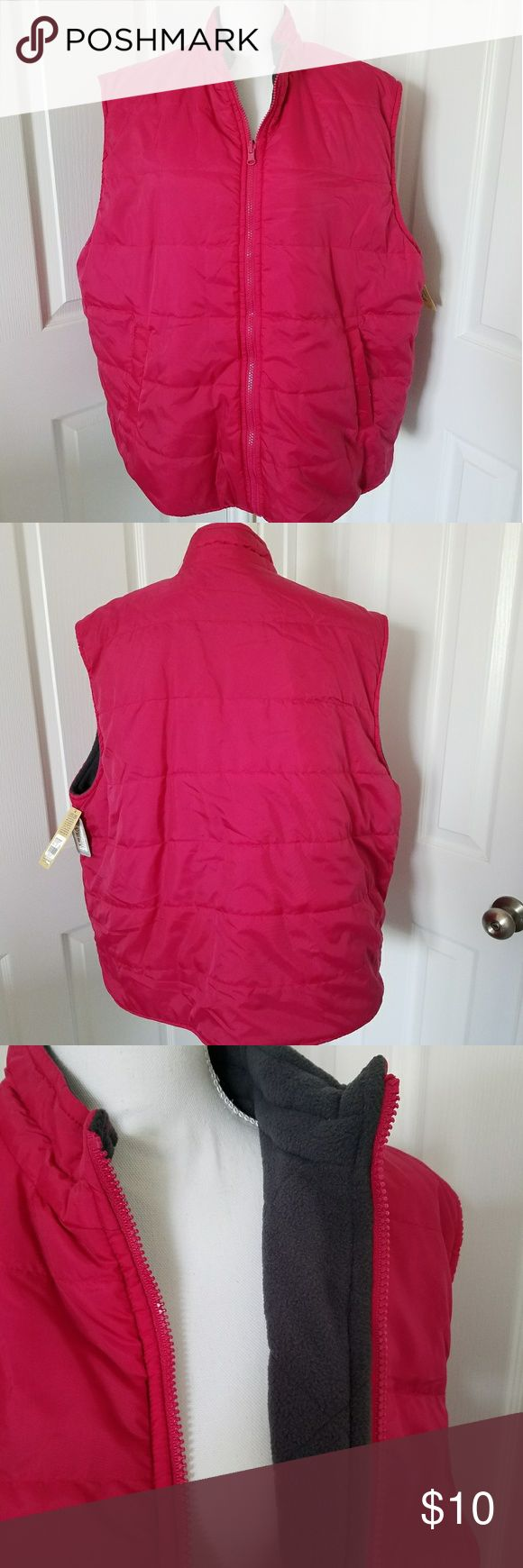 Cherokee hot pink vest Cherokee hot pink puffy vest, REVERSIBLE to a gray fleece, plus size, sleeveless, worn, plus size, 20W/24W, excellent condition. Cherokee Jackets & Coats Puffers