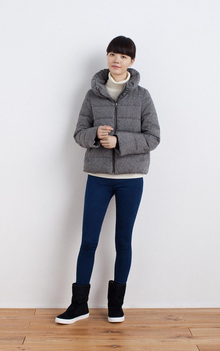MUJI | RECLAIMED WOOL MIX FRENCH DOWN BLOUSON | STRETCH SKINNY DENIM LEGGINGS | LESS ITCHINESS WIDE RIBBED TURTLE NECK SWEATER