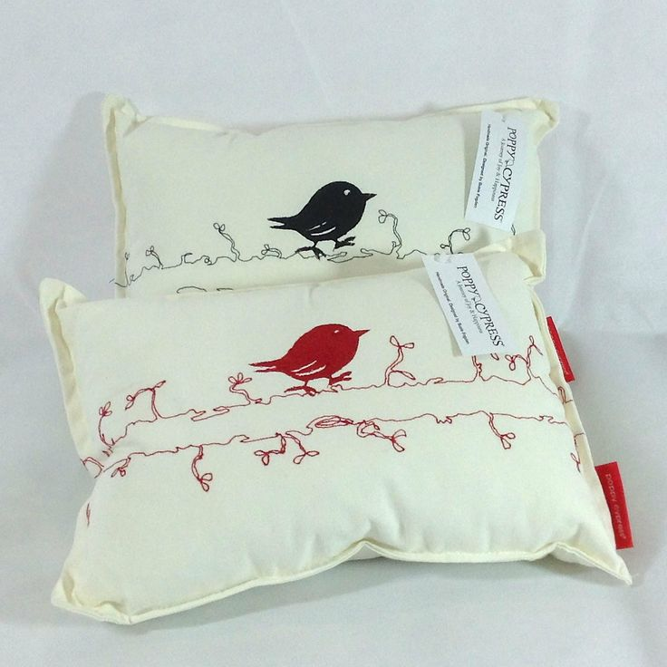 Poppy Cypress - Small Signature Bird Cushions - Red or Black #handmade #cushions #home #gifts