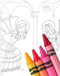 Excellent collection of coloring pages! Rosary mysteries, stations of the cross, saints, etc. I'm going to try tracing some onto wax paper and coloring them in w/ shapries to tape onto a window for a stained glass look